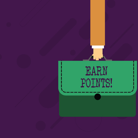 Word writing text Earn Points. Business photo showcasing collecting scores in order qualify to win big prize Businessman Hand Carrying Colorful Briefcase Portfolio with Stitch Applique