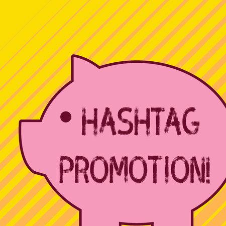 Writing note showing Hashtag Promotion. Business concept for more showing can discover and engage with your content Fat huge pink pig plump like piggy bank with sharp ear and small eye Imagens