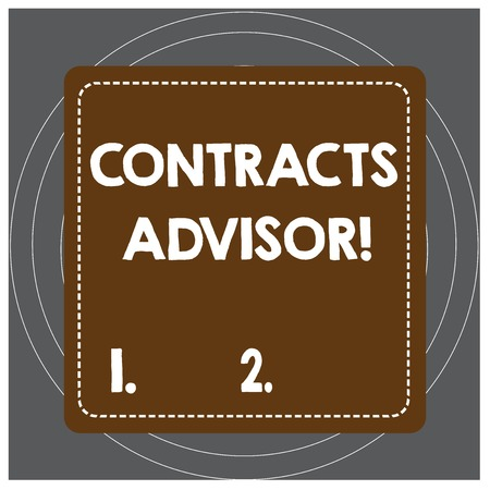 Writing note showing Contracts Advisor. Business concept for ensure the enforcement of defined procurement policies Dashed Stipple Line Blank Square Colored Cutout Frame Bright Background Stockfoto