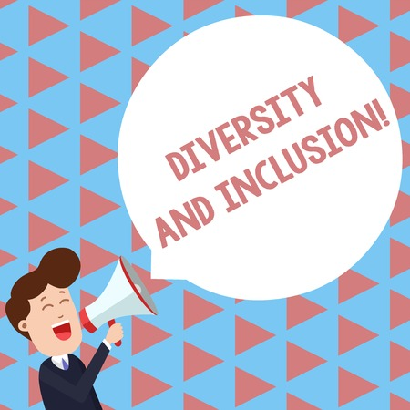 Writing note showing Diversity And Inclusion. Business concept for range huanalysis difference includes race ethnicity gender Young Man Shouting in Megaphone Floating Round Speech Bubble Archivio Fotografico