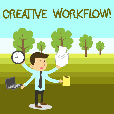 Text sign showing Creative Workflow. Business photo text the process undertaken by a company s is creative team Stressed Out Male Employee Manager Many Armed Multitasking Meet Deadline