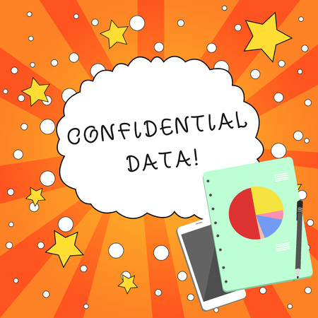 Writing note showing Confidential Data. Business concept for information that is not available to the general public Layout Smartphone Off Ballpoint Notepad Business Pie Chart
