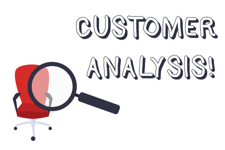 Conceptual hand writing showing Customer Analysis. Concept meaning systematic examination of a company s is customer information Magnifying Glass Directed at Red Swivel Chair with Arm Rests