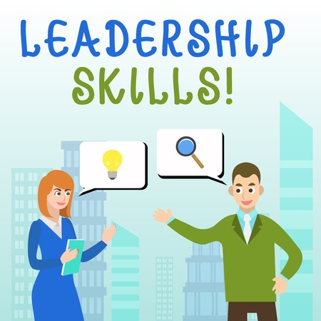 Handwriting text writing Leadership Skills. Conceptual photo Skills and qualities that leaders possess Taking a lead Business Partners Colleagues Jointly Seeking Problem Solution Generate Idea