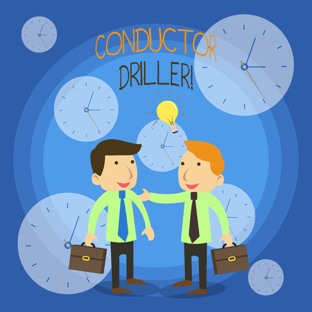 Conceptual hand writing showing Conductor Driller. Concept meaning means of conveying the upflowing drilling fluid Businessmen Colleagues with Brief Case Sharing Idea Solution