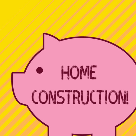 Writing note showing Home Construction. Business concept for the process of constructing a living accommodation Fat huge pink pig plump like piggy bank with sharp ear and small eye