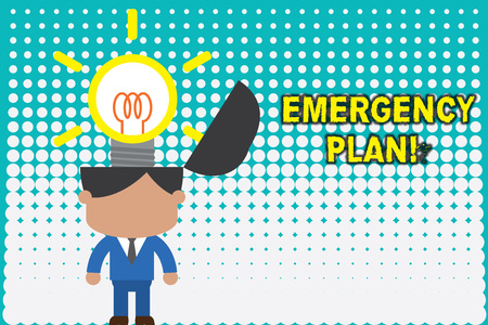 Conceptual hand writing showing Emergency Plan. Concept meaning actions developed to mitigate damage of potential events Standing successful man suit necktie innovative solutions