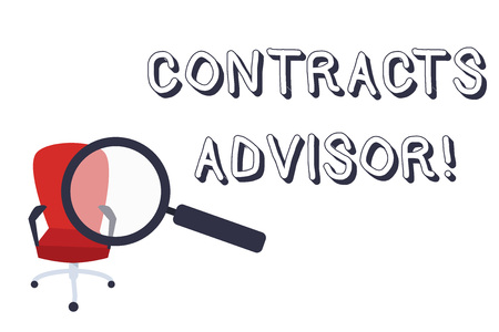Conceptual hand writing showing Contracts Advisor. Concept meaning ensure the enforcement of defined procurement policies Magnifying Glass Directed at Red Swivel Chair with Arm Rests