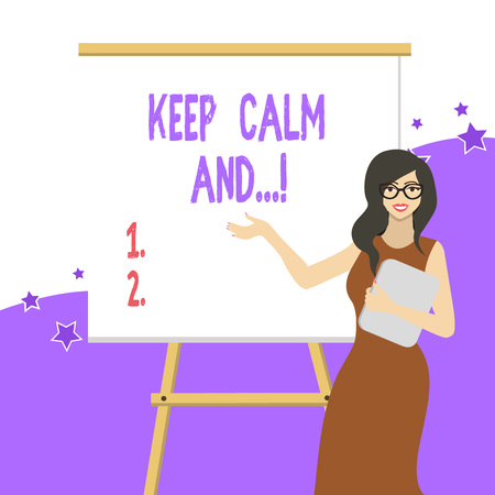 Handwriting text writing Keep Calm And. Conceptual photo motivational poster produced by British government White Female in Glasses Standing by Blank Whiteboard on Stand Presentation
