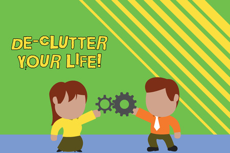 Handwriting text writing De Clutter Your Life. Conceptual photo remove unnecessary items from untidy or overcrowded places Standing young couple sharing gear. Man tie woman skirt commerce relation