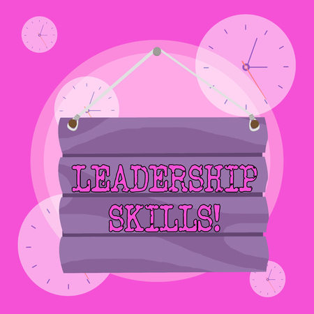 Conceptual hand writing showing Leadership Skills. Concept meaning Skills and qualities that leaders possess Taking a lead Hook Up Blank Sign Plate Wooden Signboard with Lope for Hang