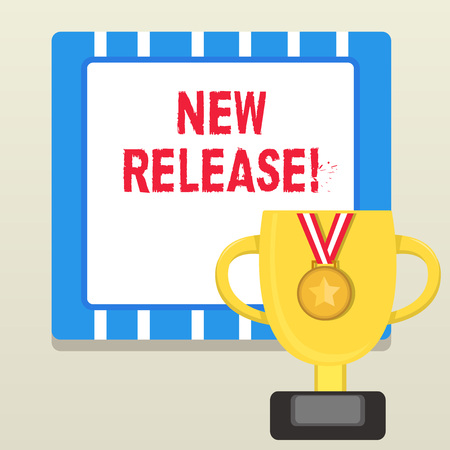 Word writing text New Release. Business photo showcasing announcing something newsworthy recent product Trophy Cup on Pedestal with Plaque Decorated by Medal with Striped Ribbon 免版税图像