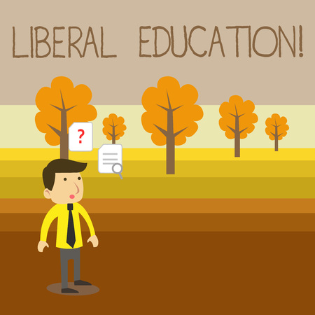 Text sign showing Liberal Education. Business photo showcasing education suitable for the cultivation of free huanalysis being Young Male Businessman Office Worker Standing Searching Problem Solution