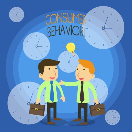 Conceptual hand writing showing Consumer Behavior. Concept meaning study of how individual customers interacts with the brand Businessmen Colleagues with Brief Case Sharing Idea Solution