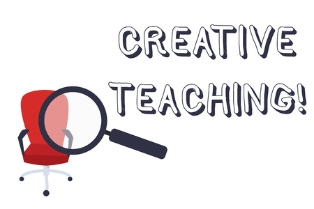 Conceptual hand writing showing Creative Teaching. Concept meaning making something fine out of learning situations Magnifying Glass Directed at Red Swivel Chair with Arm Rests Фото со стока