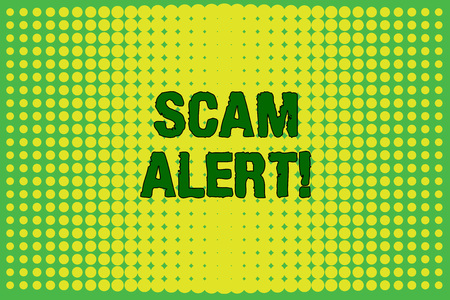 Conceptual hand writing showing Scam Alert. Concept meaning fraudulently obtain money from victim by persuading him Vanishing dots middle background design Gradient Pattern Stock Photo