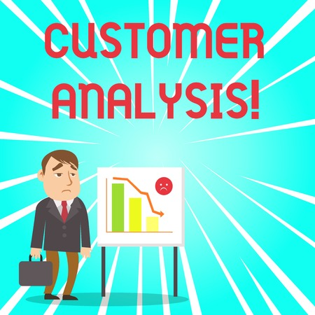 Handwriting text Customer Analysis. Conceptual photo systematic examination of a company s is customer information Businessman Clerk with Brief Case Standing Whiteboard Declining Bar Chart Stock Photo