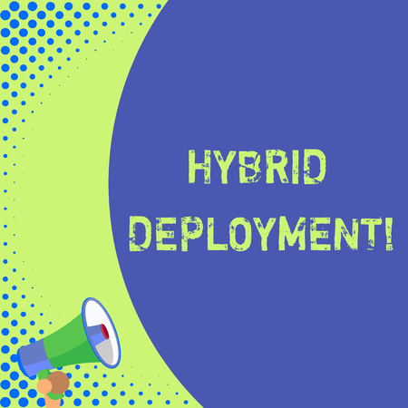Text sign showing Hybrid Deployment. Business photo text a combination of onpremises applications or data Half part blank huge balloon empty text with small megaphone. Announcement