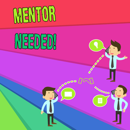 Handwriting text Mentor Needed. Conceptual photo Employee training under senior assigned act as advisor Businessmen Coworkers Conference Call Conversation Discussion Mobile Phones Standard-Bild