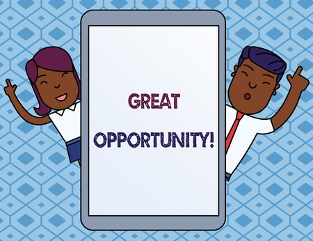 Text sign showing Great Opportunity. Business photo showcasing an appropriate or favorable time or occasion to venture Male and Female Index Fingers Up Touch Screen Tablet Smartphone Device