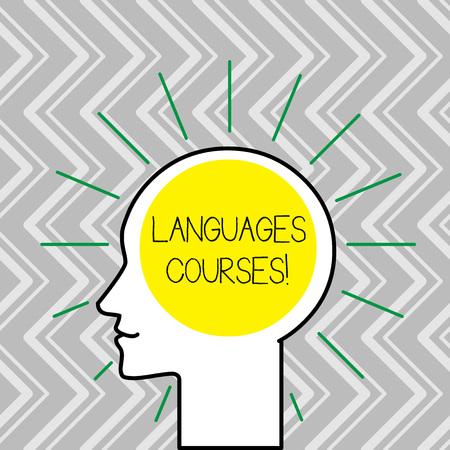 Text sign showing Languages Courses. Business photo text set of classes or a plan of study on a foreign language Outline Silhouette Human Head Surrounded by Light Rays Blank Text Space