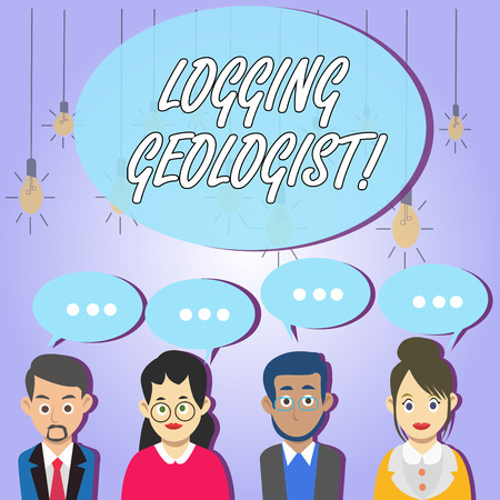 Writing note showing Logging Geologist. Business concept for Layout and execution of definition diamond drill programs Group of Business People with Speech Bubble with Three Dots