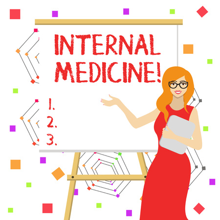 Word writing text Internal Medicine. Business photo showcasing dedicated to the diagnosis and medical treatment of adults White Female in Glasses Standing by Blank Whiteboard on Stand Presentation Stock Photo - 123996856
