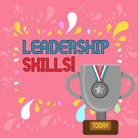 Word writing text Leadership Skills. Business photo showcasing Skills and qualities that leaders possess Taking a lead Trophy Cup on Pedestal with Plaque Decorated by Medal with Striped Ribbon