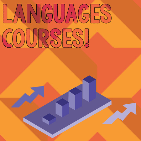 Writing note showing Languages Courses. Business concept for set of classes or a plan of study on a foreign language Clustered 3D Bar Chart Graph in Perspective with Two Arrows