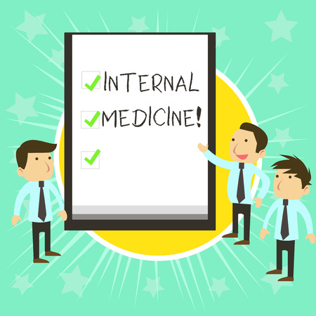 Text sign showing Internal Medicine. Business photo text dedicated to the diagnosis and medical treatment of adults Business People Colleagues Discuss Missions Presentation Whiteboard Ticks Stock Photo