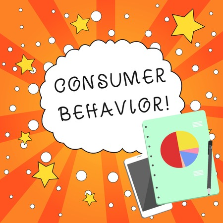 Writing note showing Consumer Behavior. Business concept for study of how individual customers interacts with the brand Layout Smartphone Off Ballpoint Notepad Business Pie Chart