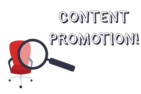 Conceptual hand writing showing Content Promotion. Concept meaning about getting content in front of the right audience Magnifying Glass Directed at Red Swivel Chair with Arm Rests Фото со стока