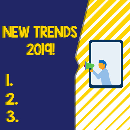 Writing note showing New Trends 2019. Business concept for general direction in which something is developing Man stands in window hold loudspeaker speaking trumpet without listener Stock Photo