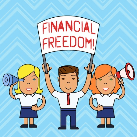 Writing note showing Financial Freedom. Business concept for make big life decisions without being stressed about money People with Banner, Megaphone and Spy Glass Demonstration