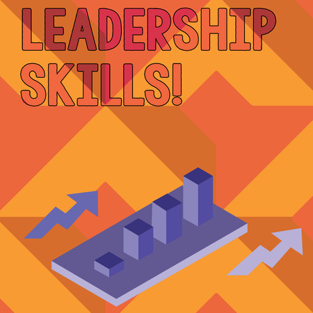 Writing note showing Leadership Skills. Business concept for Skills and qualities that leaders possess Taking a lead Clustered 3D Bar Chart Graph in Perspective with Two Arrows