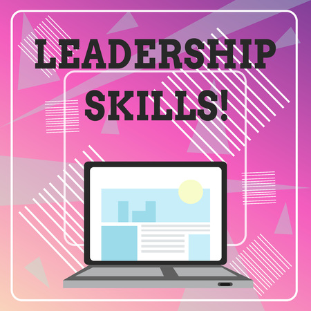 Word writing text Leadership Skills. Business photo showcasing Skills and qualities that leaders possess Taking a lead Open Modern Laptop Switched On with Website Homepage on Screen Web Search Stock Photo