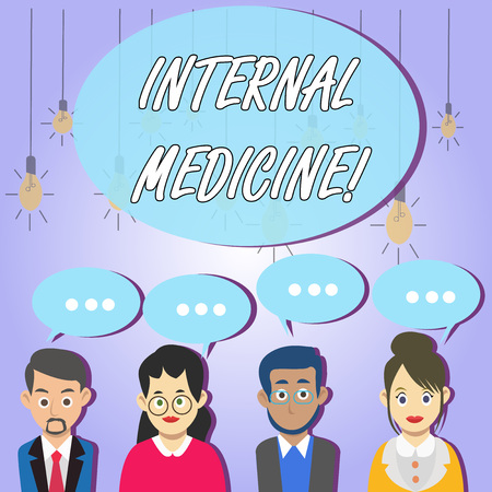 Writing note showing Internal Medicine. Business concept for dedicated to the diagnosis and medical treatment of adults Group of Business People with Speech Bubble with Three Dots Stock Photo - 123997014