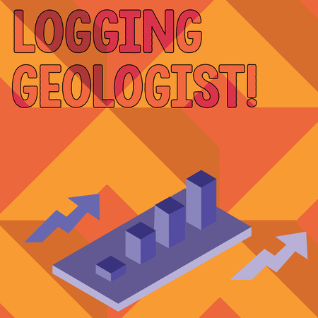 Writing note showing Logging Geologist. Business concept for Layout and execution of definition diamond drill programs Clustered 3D Bar Chart Graph in Perspective with Two Arrows Stock Photo