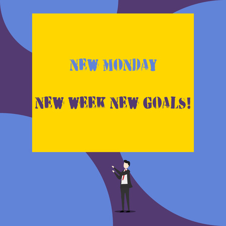 Text sign showing New Monday New Week New Goals. Business photo showcasing goodbye weekend starting fresh goals targets Isolated view young man standing pointing upwards two hands big rectangle Stock fotó