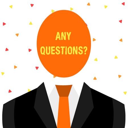 Pisanie notatki pokazującej wszelkie pytania dotyczące pytań. Koncepcja biznesowa dla ciebie powiedz napisz zamówienie, aby zapytać demonstrując o czymś Symboliczny rysunek Postać mężczyzny Formalny garnitur Owalne twarze Głowa Zdjęcie Seryjne