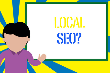 Conceptual hand writing showing Local Seoquestion. Concept meaning incredibly effective way to market your local business online Man standing in front whiteboard pointing to project photo Art