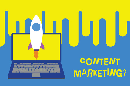 Word writing text Content Marketing question. Business photo showcasing involves creation and sharing of online material Launching rocket up laptop . Startup project. Developing goal objectives