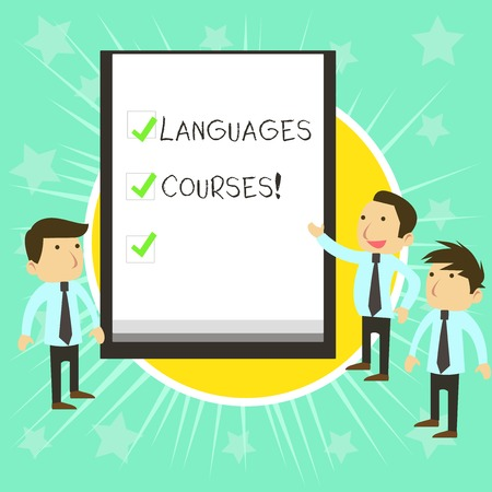 Text sign showing Languages Courses. Business photo text set of classes or a plan of study on a foreign language Business People Colleagues Discuss Missions Presentation Whiteboard Ticks