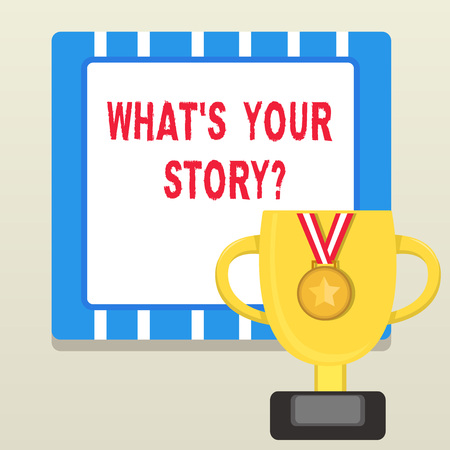 Word writing text What S Your Story Question. Business photo showcasing asking demonstrating about his past life actions career or events Trophy Cup on Pedestal with Plaque Decorated by Medal with Striped Ribbon Stock fotó