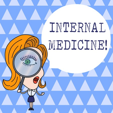 Text sign showing Internal Medicine. Business photo showcasing dedicated to the diagnosis and medical treatment of adults Woman Looking Trough Magnifying Glass Big Eye Blank Round Speech Bubble Stock Photo - 124019934