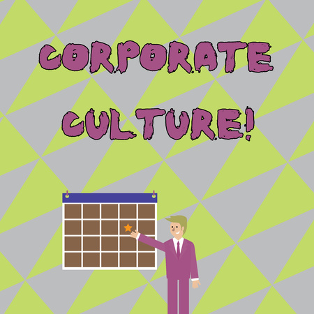Handwriting text writing Corporate Culture. Conceptual photo beliefs and attitudes that characterize a company Businessman Smiling and Pointing to Calendar with Star Hang on Wall