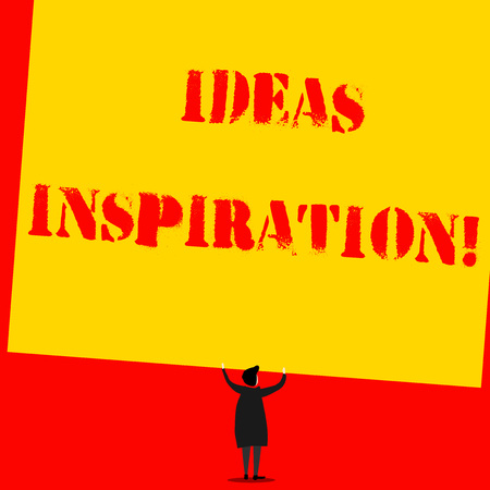 Text sign showing Ideas Inspiration. Business photo text feeling of enthusiasm you get from someone or something Man stands in back view under huge empty blank big tilted rectangle board Stok Fotoğraf