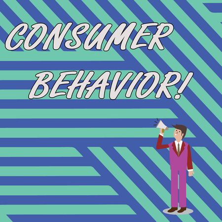 Word writing text Consumer Behavior. Business photo showcasing study of how individual customers interacts with the brand Businessman Looking Up, Holding and Talking on Megaphone with Volume Icon