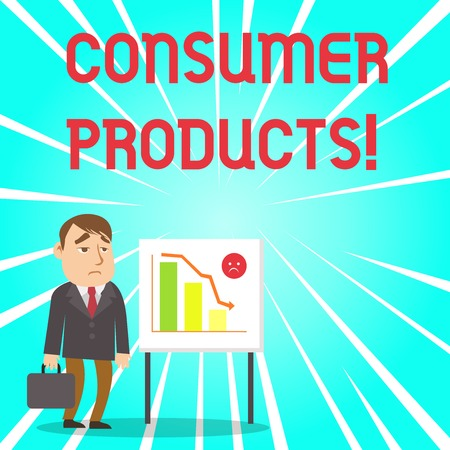 Handwriting text Consumer Products. Conceptual photo goods bought for consumption by the average consumer Businessman Clerk with Brief Case Standing Whiteboard Declining Bar Chart