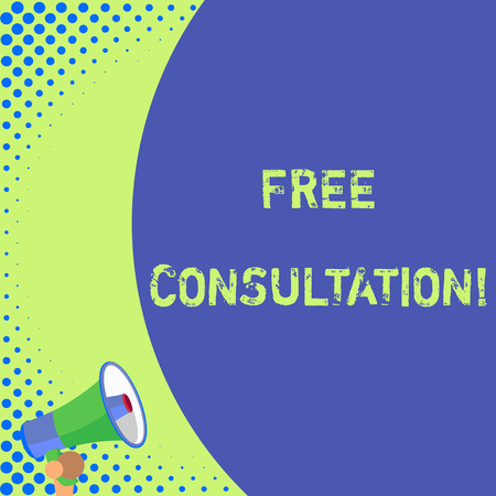 Text sign showing Free Consultation. Business photo text meeting to discuss something or to get advice without fee Half part blank huge balloon empty text with small megaphone. Announcement